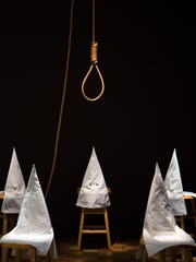"Duck, Duck, Noose,"" Gary Simmons, 1992, wood, cloth, metal and hemp. Courtesy of Rubell Family Collection, Miami"