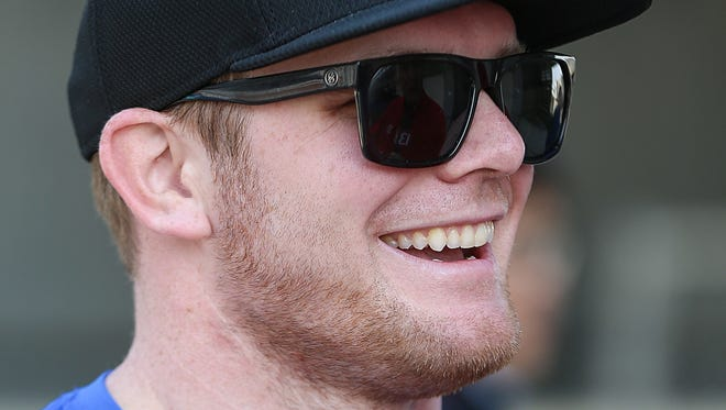 Conor Daly chats with media during a manufacturer testing session for Verizon IndyCar series drivers at Indianapolis Motor Speedway, Indianapolis, Friday, March 24, 2017. Daly was recently chosen to compete on American Ninja Warrior.