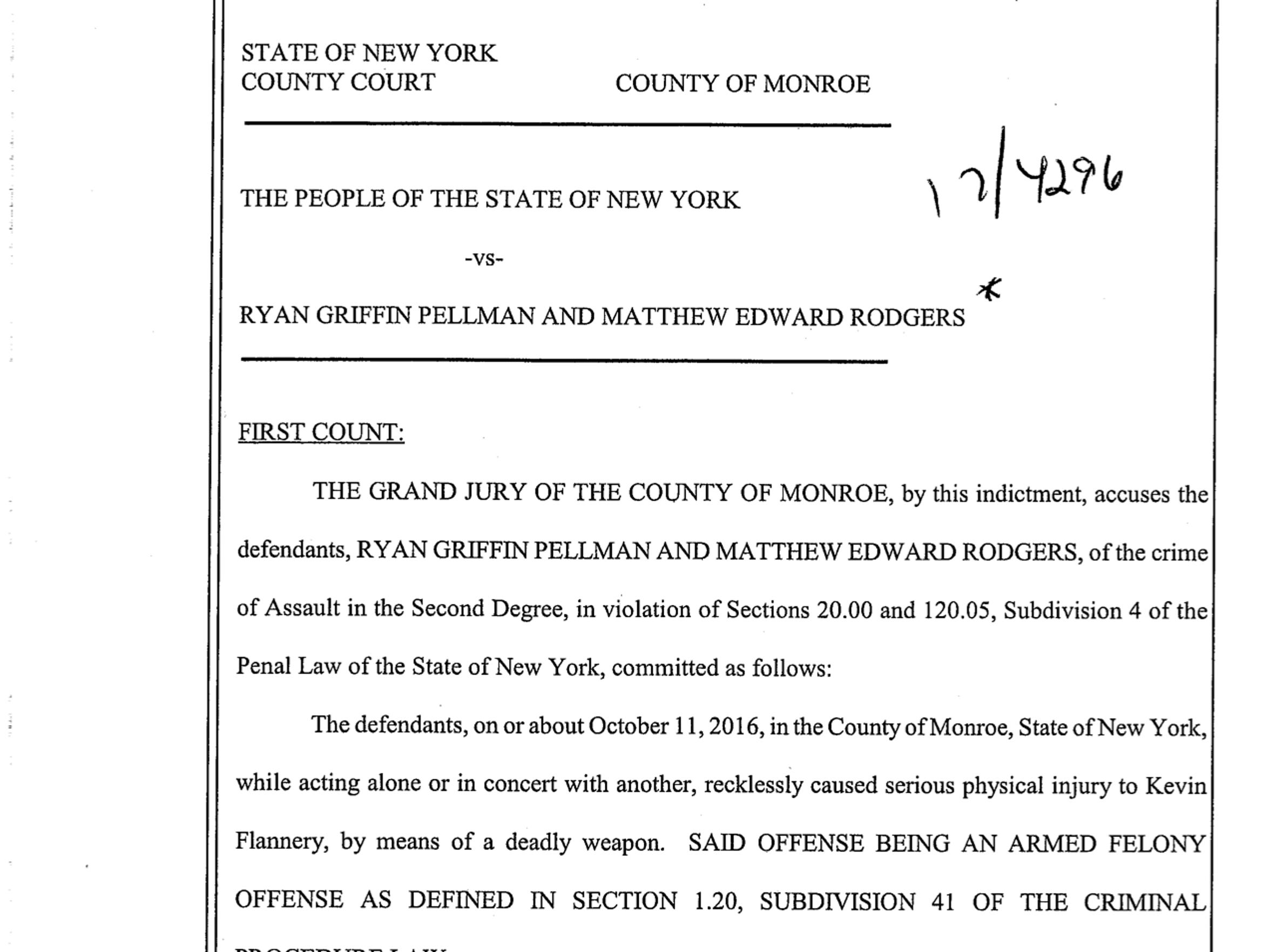 A copy of the indictment against Ryan Pellman and Matthew