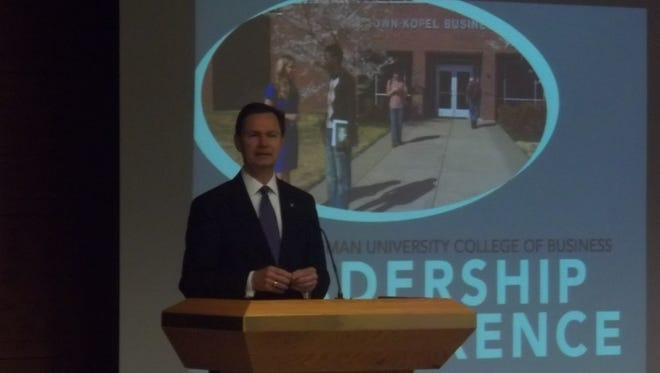 Frank McMeen, president of West Tennessee Healthcare Foundation, speaks during Freed-Hardeman University's inaugural leadership conference on Thursday.