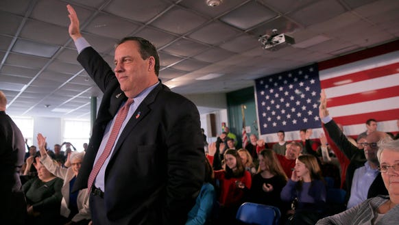Chris Christie attends a town hall meeting at Hampton