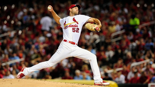 St. Louis Cardinals starting pitcher Michael Wacha throws to a San Francisco Giants batter during the fifth inning at Busch Stadium.