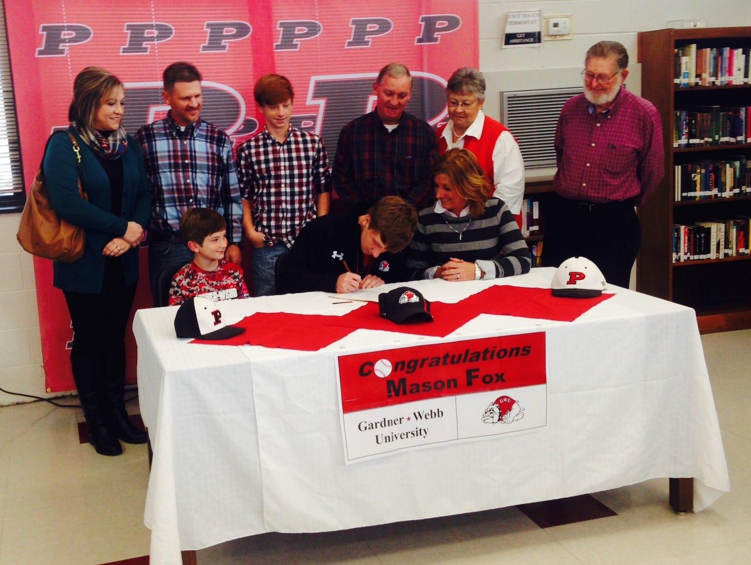 Pisgah alum Mason Fox has signed to play college baseball for Gardner-Webb.