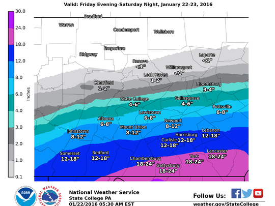 Snowfall forecast map from 5:30 a.m. Friday.
