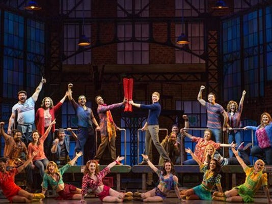 """This undated image released by Boneau/Bryan-Brown shows shows the national tour cast for the musical """"Kinky Boots."""" Lifetime TV's """"The Balancing Act"""" will feature several touring Broadway shows this summer, including behind-the-curtain peeks on """"Kinky Boots,"""" """"Rodgers + Hammerstein's Cinderella,"""" """"If/Then"""" and """"Cabaret."""" The shows will be included in a six-part """"Broadway Balances America"""" series led by correspondent Amber Milt that offers viewers a look at the cast and crew who make the tours possible. (Matthew Murphy/Boneau/Bryan-Brown via AP)"""