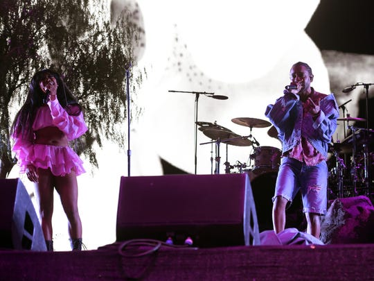 INDIO, CA - APRIL 13:  SZA and Kendrick Lamar perform onstage during the 2018 Coachella Valley Music And Arts Festival at the Empire Polo Field on April 13, 2018 in Indio, California.  (Photo by Kevin Winter/Getty Images for Coachella)