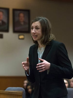 La Reina's India Howeth presents her case before the judge in the Ventura County mock trial finals held at Ventura County Superior Court in Ventura on Thursday. La Reina won the county title.
