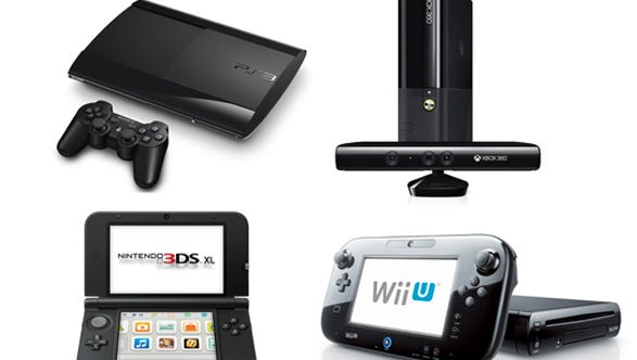 The Sony PlayStation 3 (clockwise from top left); the Microsoft Xbox 360; the Nintendo Wii U; and the Nintendo 3DS XL.
