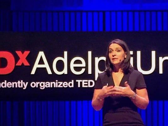 Katie Schumacher on the TED stage