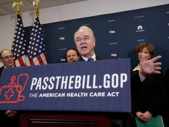 Health and Human Services Secretary Tom Price, center,