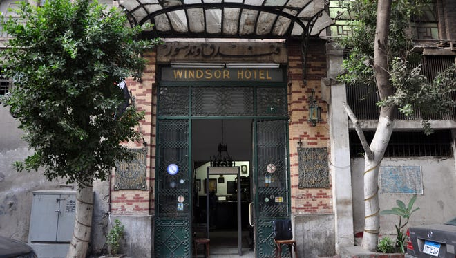 The entrance of the Windsor Hotel in downtown Cairo.