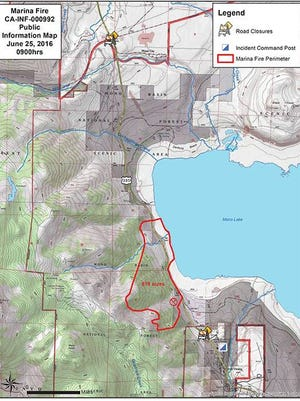 A map showing the area of the Marina Fire and where it started.