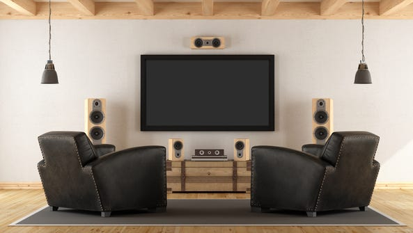 Vintage room with contemporary home cinema system -