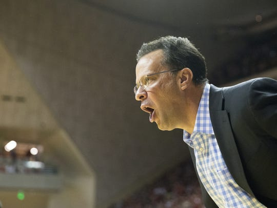 Tom Crean, Indiana's head coach, during first half men's action, Michigan State University at Indiana University, Assembly Hall, Bloomington, Saturday, January 21, 2017.
