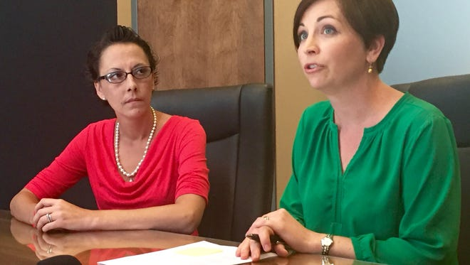 Melissa Houglin, left, and her attorney, Laura Landenwich, filed a class action lawsuit Tuesday against Clark County and its jail officials.