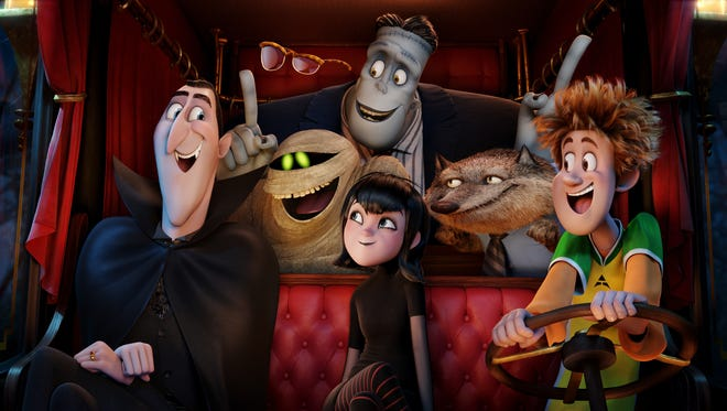 Dracula (Adam Sandler), Griffin the Invisible Man (David Spade), Murray (Keegan-Michael Key), Frank (Kevin James), Mavis (Selena Gomez), Wayne (Steve Buscemi) and Johnny (Andy Samberg) in 'Hotel Transylvania 2.'