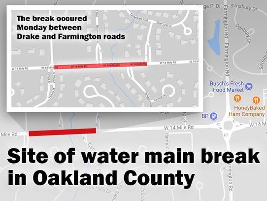 Oakland Country water main break