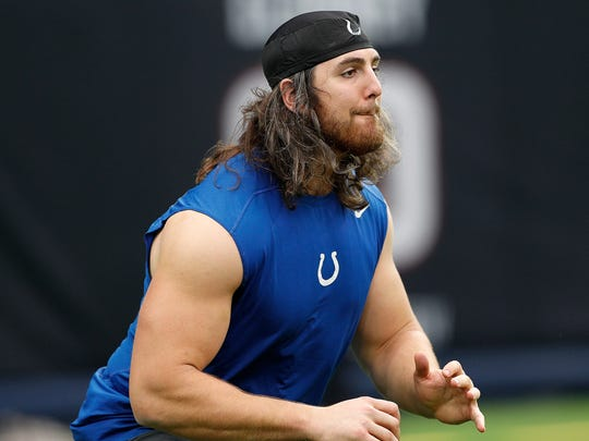 Indianapolis Colts offensive tackle Anthony Castonzo (74) works out for trainers and coaches before the start of their game against the Houston Texans at NRG Stadium in Houston on Sunday, Nov. 5, 2017.