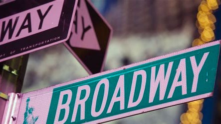 This file photo shows a Broadway street in Times Square, in New York. Theater-loving parents early next year will get a financial break with the annual program that lets children 6-18 see a Broadway shows for free when accompanied by a full-paying adult. This year, the offer is good for shows from Jan. 9-15.