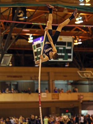 Matt Leanza of Suffern clears the bar Friday during the Suffern Indoor Track Invitational at Rockland Community College.