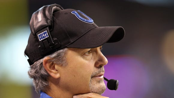 Indianapolis Colts head coach Chuck Pagano watches his team. The Indianapolis Colts played the Jacksonville Jaguars in their NFL football game Sunday, December 29, 2013, afternoon at Lucas Oil Stadium.