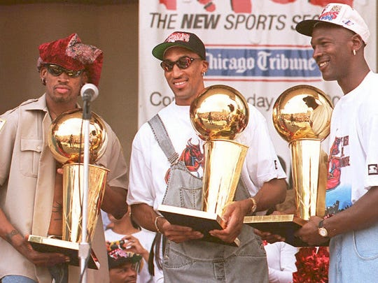 Dennis Rodman, Scottie Pippen and Michael Jordan
