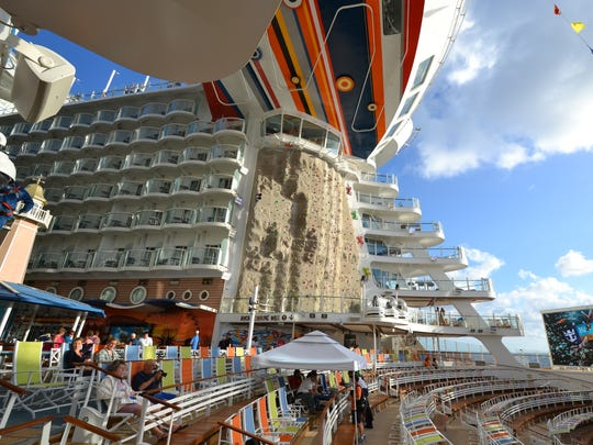 Allure of the Seas climbing wall
