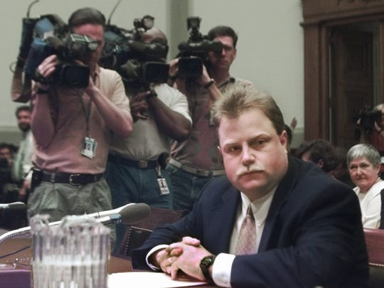 The late Richard Jewell , shown here in 1997,after he was exonerated from false reports he bombed the 1996 Olympics in Atlanta.