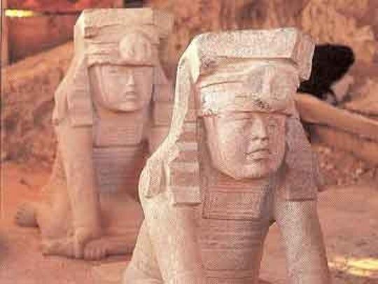 Olmec sculptures on display