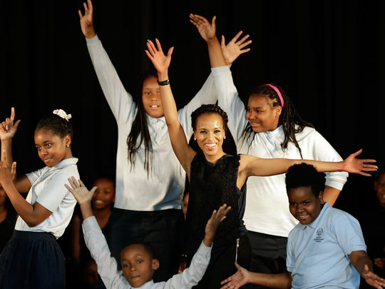 Kerry Washington with students