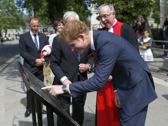 Prince Harry and wedding plaque