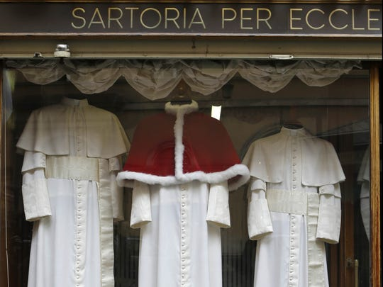 Papal outfits in Gammarelli shop