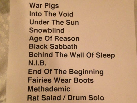 Black Sabbath set list