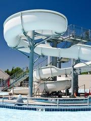 A big slide and the lazy river at the Osborn Aquatic