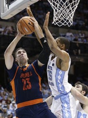 Zach Thomas (23) is Bucknell's leading scorer and rebounder,