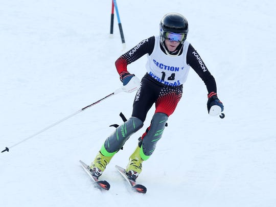 Kyle Burton compete in the Section 1 skiing championships at Hunter Mountain in Hunter, N.Y.  Feb. 15, 2017.