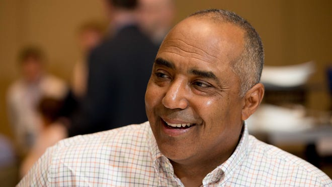 Marvin Lewis at the league meetings AFC coaches' breakfast.