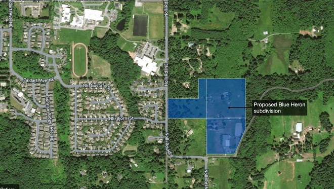 Proposed Blue Heron development would add 85 homes to Noll Road corridor.