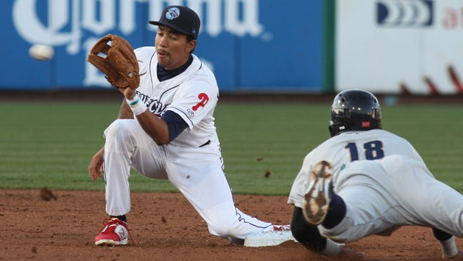 Lakewood BlueClaws shortstop JP Crawford (left) is being promoted by the Philadelphia Phillies to high Class A Clearwater.