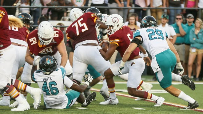 ULM leads the Sun Belt in rushing at 214.2 yards per game.