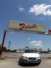 A vehicle exits the The Frisch's Mainliner in Fairfax.