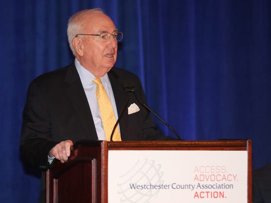 Bill Mooney, the president and CEO of the Westchester County Association, delivers  remarks in January during the WCA's 2016 Economic Forecast Breakfast in Tarrytown.