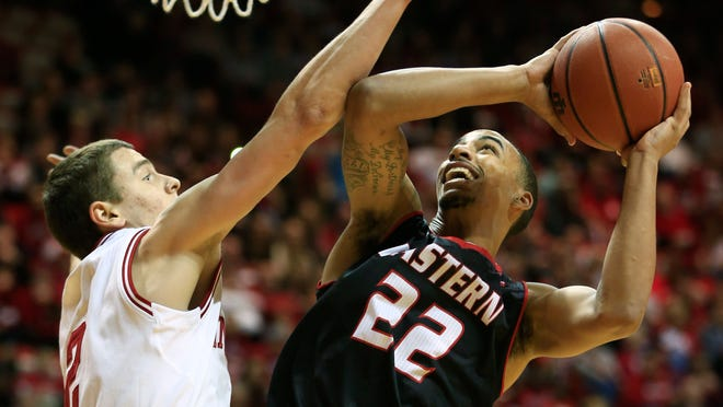 Eastern Washington's Drew Brandon (22) is fouled by Indiana's Nick Zeisloft (2) during the first half of an NCAA college basketball game Monday, Nov. 24, 2014, in Bloomington, Ind. (AP Photo/Darron Cummings)