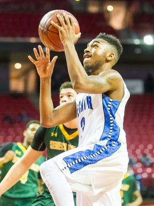 Stephen Decatur guard Torrey Brittingham (3) against Seneca Valley during the MPSSAA 3A semi-finals at the Xfinity Center in College Park on Thursday, March 10.