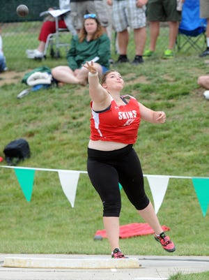Port Clinton's Morrisa Mallory competes in the shot put at state as a junior last season.