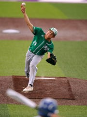 Wall pitcher Caleb Heuertz (15) throws a pitch to a