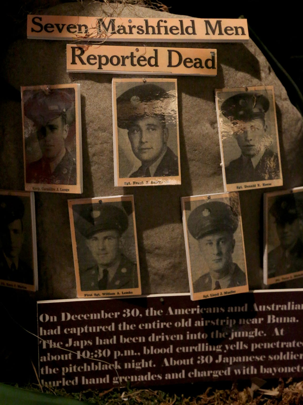 This exhibit at the Lest We Forget Military Museum in the basement of the Marshfield Public Library gives details of when seven soldiers from Marshfield were killed in a single day in World War II. The exhibit was photographed Oct. 21.