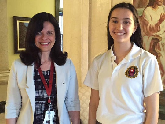 Seton Hall University Year of Mercy essay contest winner Isabel Velarde of East Brunswick is pictured, right, with Mount Saint Mary Academy theology teacher and campus minister Isabel Gachko.