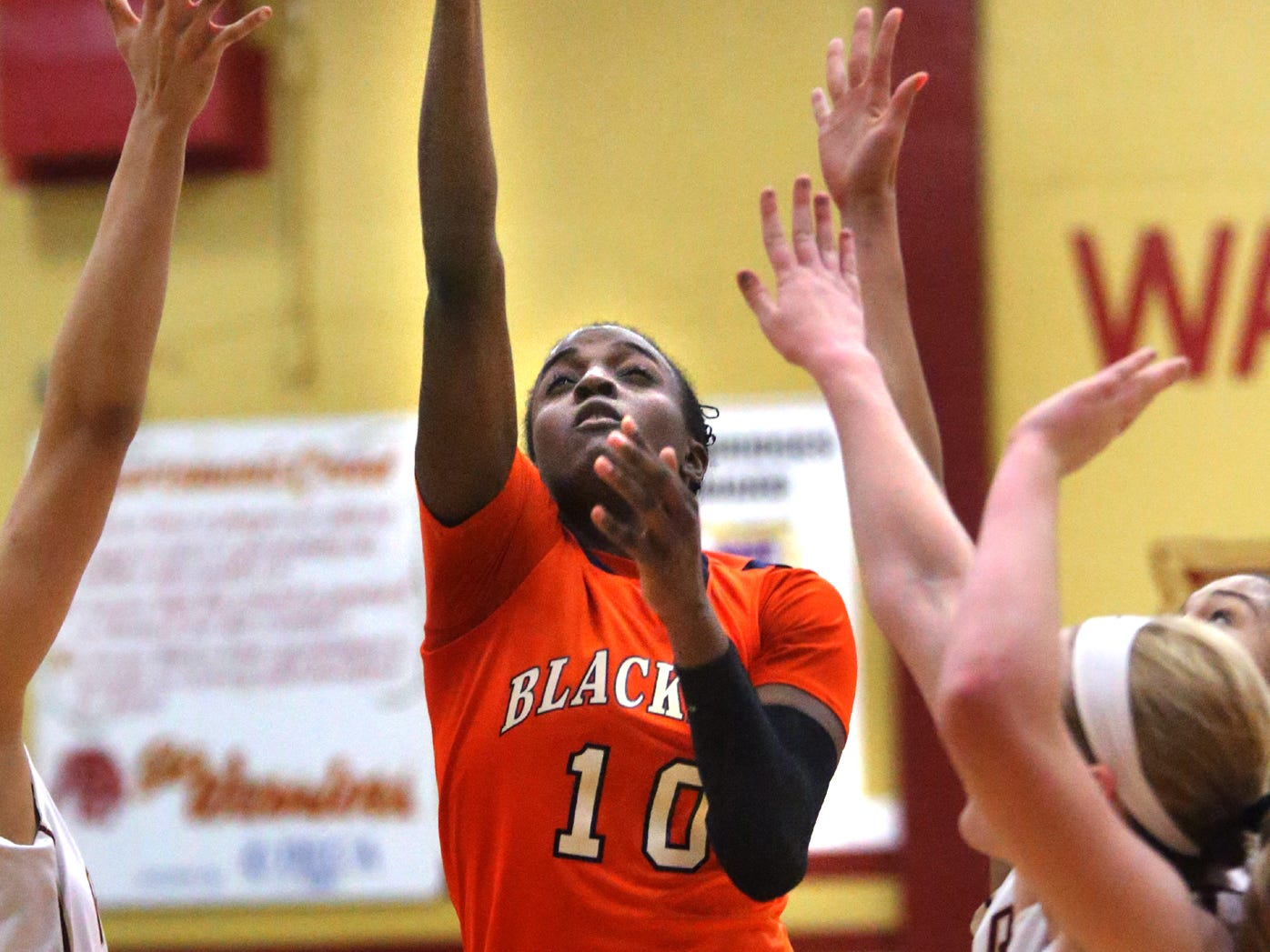 Blackman's MeMe Jackson goes up for a shot during the first half of the game against Riverdale at Riverdale on Friday Jan. 9, 2015.