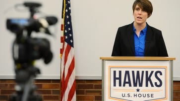 Paula Hawks speaks about funding for Indian Health Service during a new conference Monday at the Downtown Library.